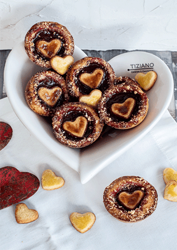 Rezept Kleine Herz-Tartelettes mit Himbeergelee