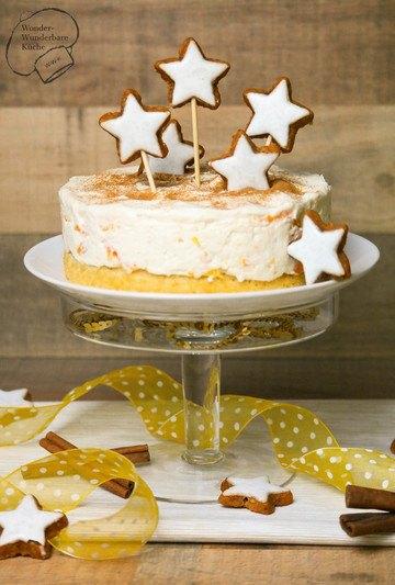 Rezept Kleine Mascarpone-Zimtstern-Torte mit Mandarinen