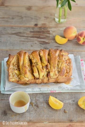 Rezept Knusperbrot: Pfirsich Pull Apart Bread