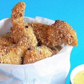 Rezept knusprige Chicken Nuggets mit Sesam-Kruste
