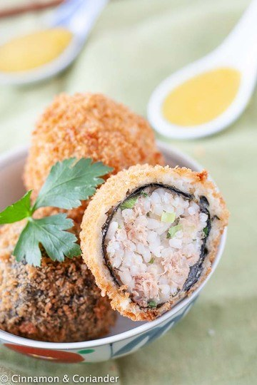 Rezept Knusprige Japanische Reisbällchen mit Thunfisch und Wasabi Orangensauce
