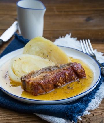 Rezept Knuspriger Schweinebraten mit Stöcklkraut