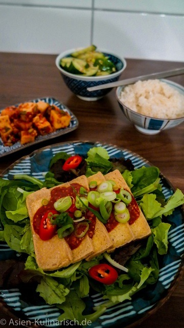 Rezept Knuspriger Tofu im Salatbett