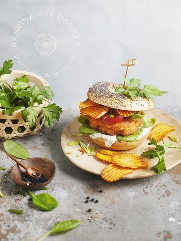 Rezept Koreanischer Kimchi Jeon Burger & Süßkartoffel Chips (vegan)