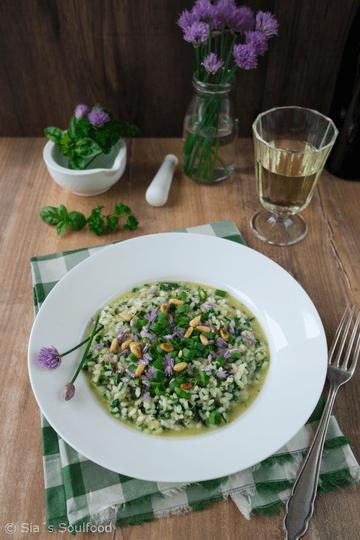 Rezept Kräuter-Risotto mit Schnittlauchblüten