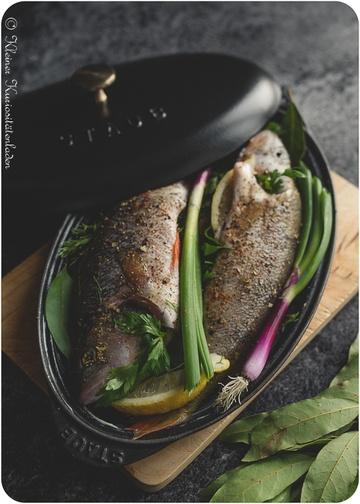 Rezept Kräuterbarsch aus dem Ofen mit Gratin Dauphinois