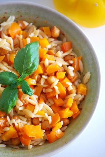 Rezept Kritharaki mit gerösteten Kichererbsen & ofengerösteter Paprika