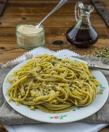 Rezept Kübiskernöl - Spaghetti mit gerösteten Kürbiskernen
