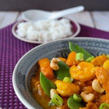 Rezept Kürbis-Garnelen-Curry mit Cashew-Topping