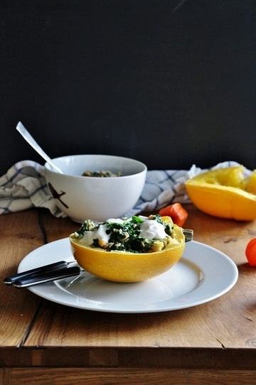 Rezept Kürbis gefüllt mit Spinat und Kichererbsen