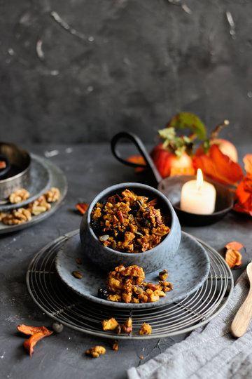 Rezept Kürbis Granola mit Ahornsirup und Nüssen