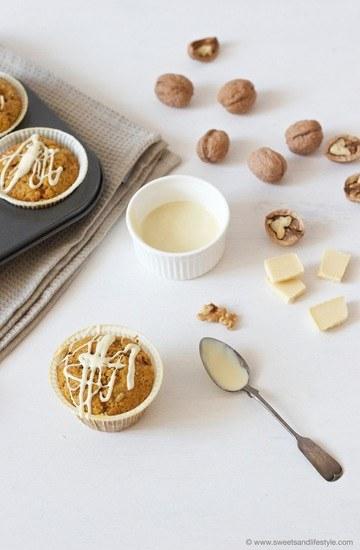 Rezept Kürbis Muffins mit weißer Schoko