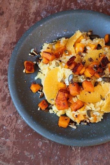 Rezept  Kürbis-Orangen-Risotto mit Kakaobohnen-Thymian-Topping