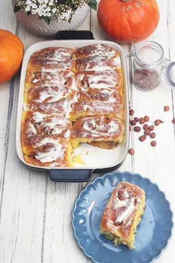 Rezept Kürbis-Zimtschnecken mit Nüssen und Mandeln | Pumpkin Cinnamon Rolls