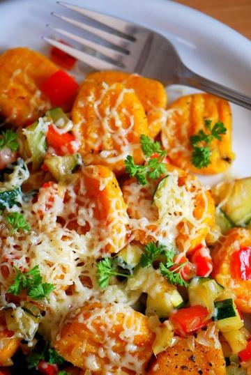 Rezept Kürbis-Zucchini-Reispfanne mit Münsterländer Käse