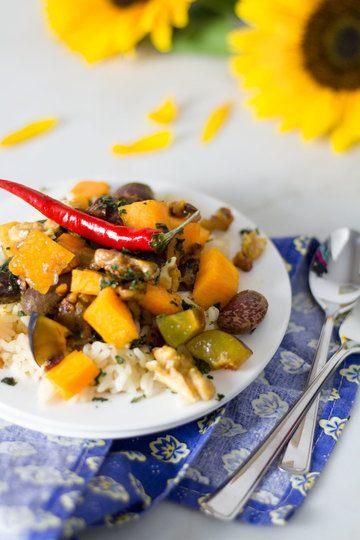 Rezept Kürbiscurry mit gerösteten Walnüssen