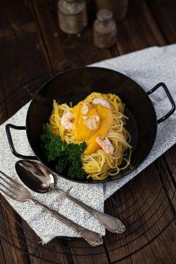 Rezept Kürbisgerichte Butternut - Pasta mit Butternut Kürbis Parmesan Soße