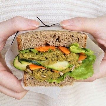 Rezept Kürbiskern-Hummus // Lunch-Brot