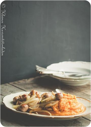 Rezept Kürbispolenta mit Bratwurstbällchen und Fenchelgemüse
