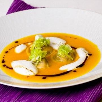 Rezept Kürbissuppe mit Blutwurstravioli