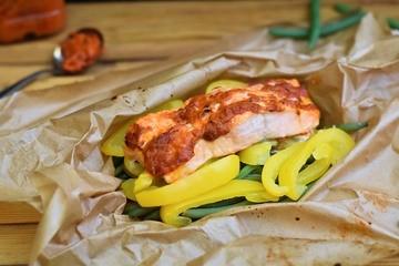 Rezept Lachs auf einem Gemüsebeet