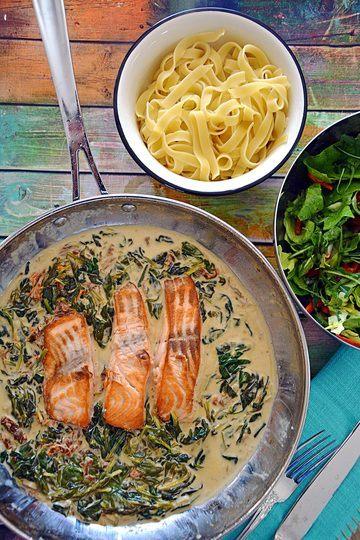 Rezept Lachs in Sahne mit Spinat
