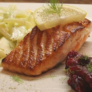 Rezept Lachs mit Fenchelsalat und Cranberrysauce