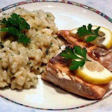 Rezept Lachs mit Zitronen-Koriander-Risotto