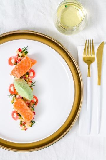 Rezept Lachs Sous-Vide | Apfel-Gurken-Radieschen-Salat | Wasabi-Gurken-Eis