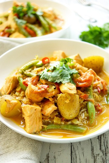 Rezept Lachsfilet in Kokos-Curry mit grünen Bohnen & Kartoffeln