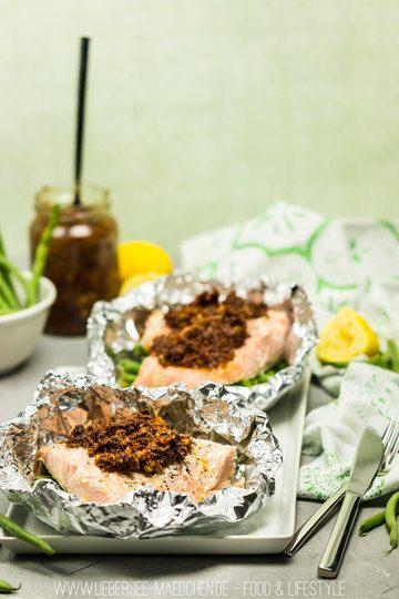 Rezept Lachspäckchen mit Bohnen und Pesto aus dem Ofen