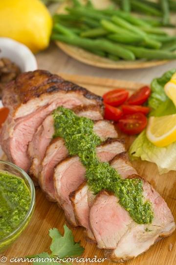 Rezept Lammlende zartrosa mit Chimichurri Sauce