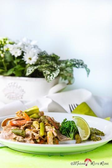 Rezept lauwarmer grüner Spargel-Pasta-Salat