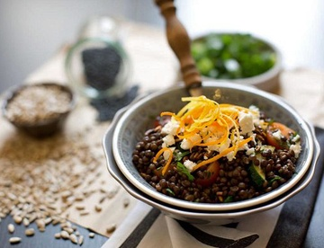 Rezept Lauwarmer Linsensalat mit Sonnenblumenkernen Krokant