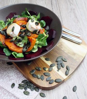 Rezept Lauwarmer Wintersalat mit Rote Beete und Kürbis