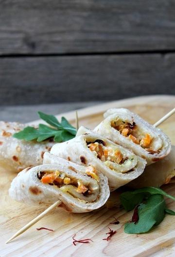 Rezept Lavash mit Karotten-Safran-Ziegenfrischkäse-Füllung