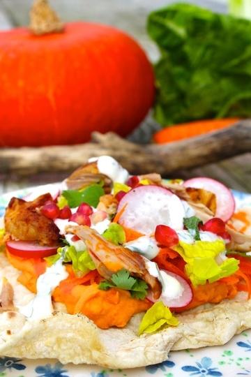 Rezept Lavash‑Brot mit Entenconfit, Kürbiscreme und Salat