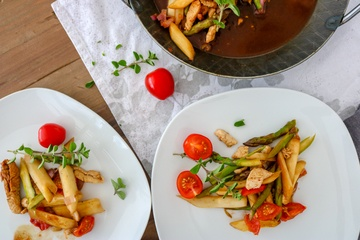 Rezept leichte Hühnchen-Spargel Pfanne