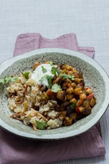 Rezept Libanesischer Reis mit Auberginen-Gemüse