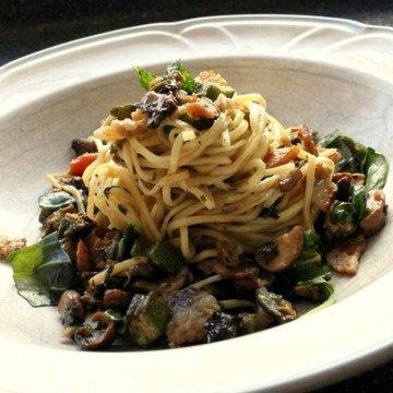 Rezept Linguine mit Okra, Pilzen und Speck