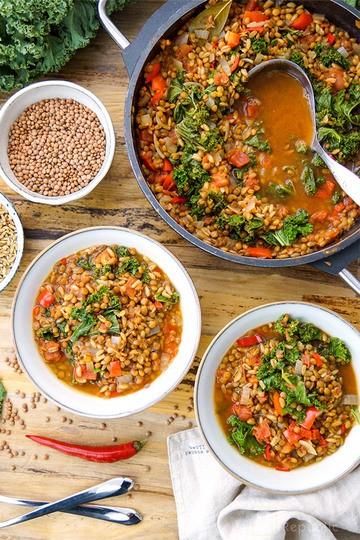 Rezept Linsen Chili mit Grünkern und Grünkohl
