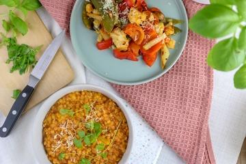 Rezept Linsen-Pfirsich Dal mit Ofengemüse