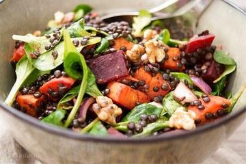Rezept Linsen Salat mit gerösteter Süßkartoffel und Rote Bete