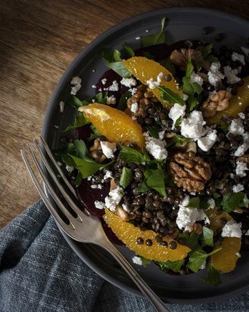 Rezept Linsensalat mit Rote Bete, Nüssen & Orangen