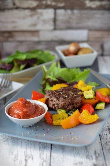 Rezept Low Carb Burger mit Ofengemüse