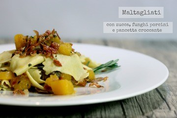 Rezept Maltagliati con zucca e funghi porcini