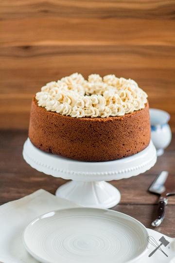 Rezept Mandel Maroni Kuchen mit Karamelltopping