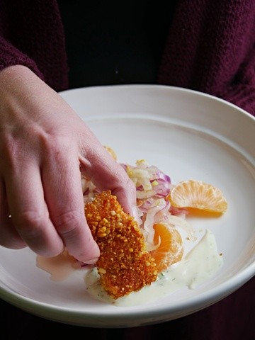Rezept Mandellachs mit Fenchel-Orangen-Salat