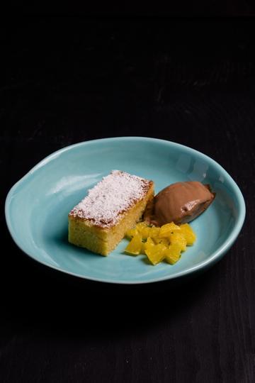 Rezept Mandeltarte mit Orangensalat und Schokoeis