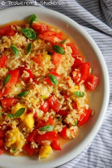 Rezept Mango-Reispfanne mit Tomate-Mozzarella